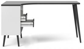 Biurko narożne Oslo biało-czarne