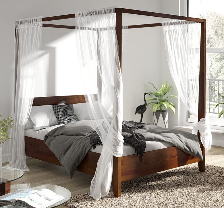 Ciemne łóżko Z Baldachimem W Przytulnej Sypialni Aranżacje