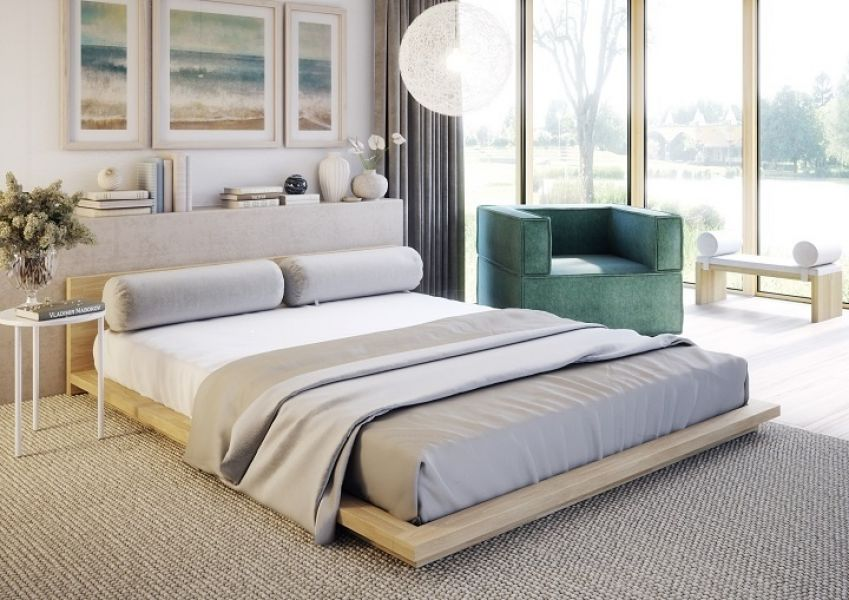 Niskie łóżko Na Szarym Dywanie W Sypialni Z Dużym Oknem I