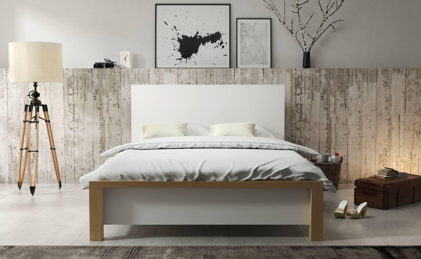 Białe łóżko Do Sypialni Ze Skrzynią Do Przechowywania