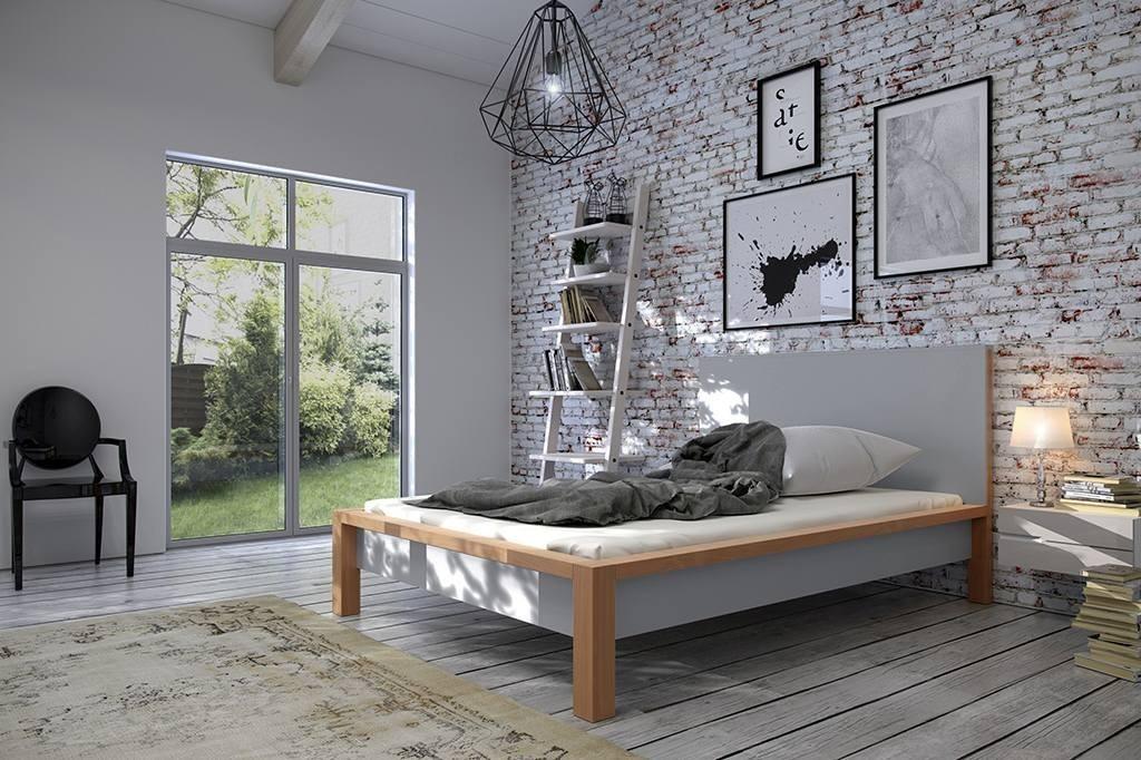 Drewniane Szare łóżko Z Wysokim Wezgłowiem W Designerskiej