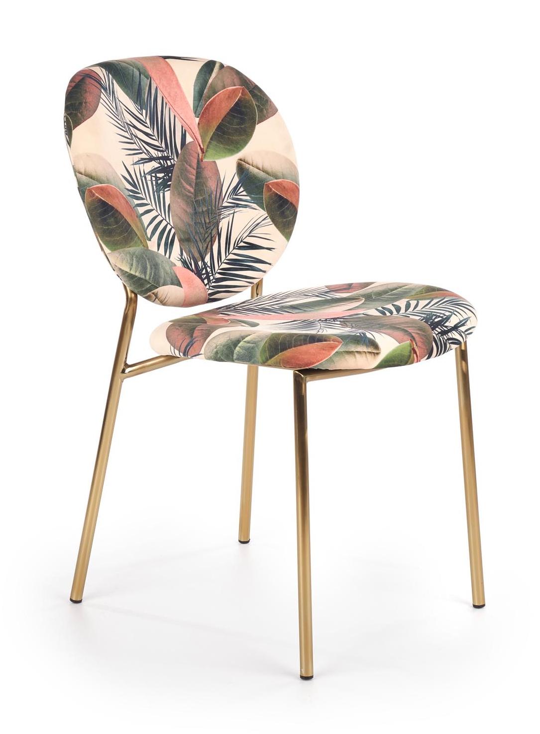 Tapicerowane krzesło na metalowych nogach z motywem liści