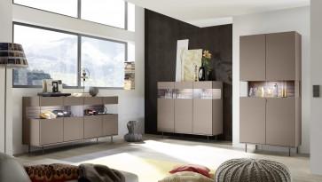 Fato Luxmeble - komody do salonu z wykończeniem z tkaniny Glare brąz metalik