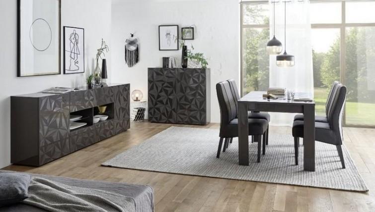 Fato Luxmeble - meble do salonu i jadalni z geometrycznym wzorem Prestige szary połysk