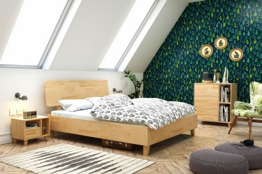 Bukowe meble sypialniane Visby na poddaszu