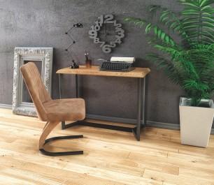 Konsola w stylu loftowym z drewnopodobnym blatem i designerskie krzesło na podstawie w kształcie podkowy