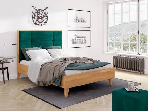 Visby - drewniane łóżka z wysokim zagłówkiem tapicerowanym Frida