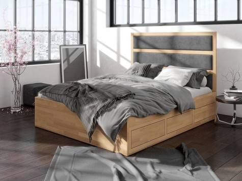 Visby - drewniane łóżka do sypialni z szufladami i tapicerowanym wezgłowiem Magnus