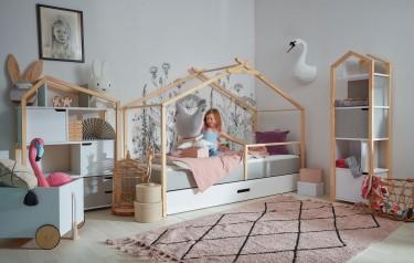 Dziecięce łóżko z szufladą i stelażem w kształcie indiańskiego namiotu tipi