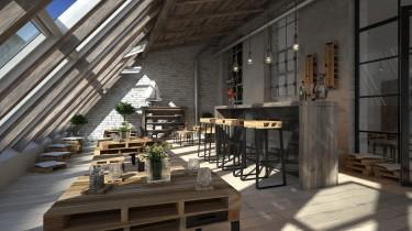 Industrialna kawiarnia wyposażona w meble z palet