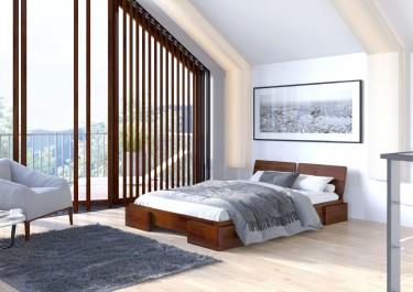 Łóżko podwójne z wezgłowiem w ciemnym odcieniu drewna