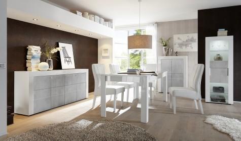 Fato Luxmeble - białe meble do salonu z optyką betonu Bonny