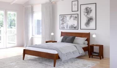 Biała sypialnia z drewnianym łóżkiem i szafką nocną