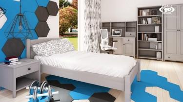 Stylowa sypialnia młodzieżowa z szarymi meblami