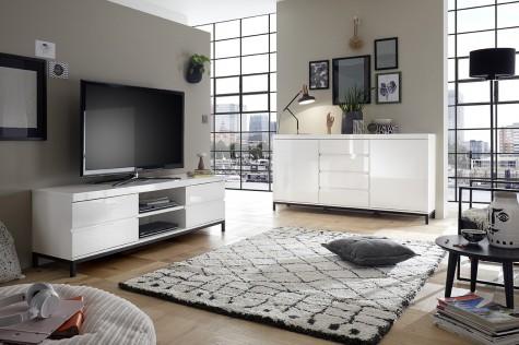 Fato Luxmeble - białe meble do salonu na nóżkach Chatte