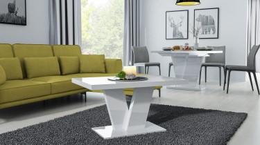 Zestaw mebli salonowych z płyty akrylowej w wysokim połysku i żółtą kanapą