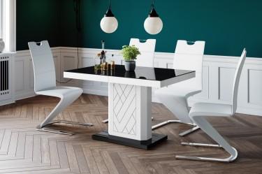 Elegancka jadalnia z czarno-białym stołem na jednej nodze