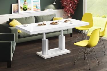 Rozkładany oraz podnoszony ławostół w nowoczesnym salonie