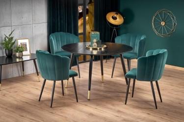 Jadalnia w stylu glamour z czarnym, okrągłym stołem i zielonymi krzesłami