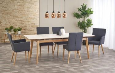 Rozkładany stół w stylu skandynawskim z ceramicznym blatem na stelażu z litego drewna jesionowego