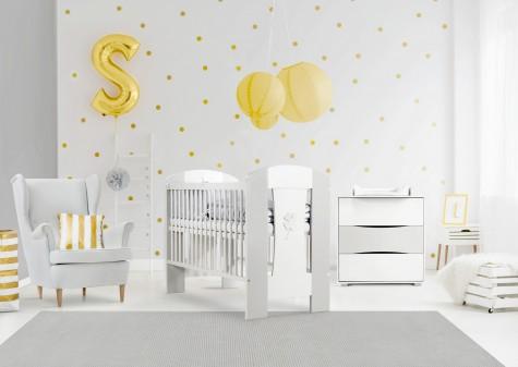 Klupś - biało-popielate meble do pokoju niemowlęcego Nati