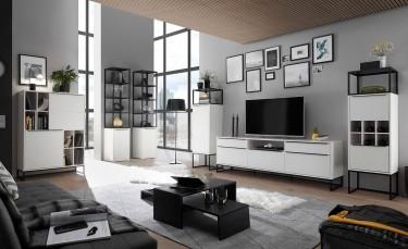Zestaw mebli do salonu na płozach z podłużnymi uchwytami w kolorze białym matowym