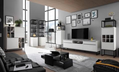 Fato Luxmeble - meble pokojowe w stylu loft w kolorze białym matowym Glory