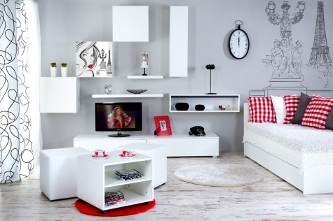 Klupś - minimalistyczne meble białe dla młodzieży Top Paris