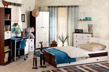 Duży pokój młodzieżowy z klasycznymi meblami dwukolorowymi i turkusowymi dodatkami
