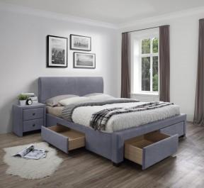 Kontynentalne łóżko z szufladami zestawione z tapicerowanym stolikiem nocnym