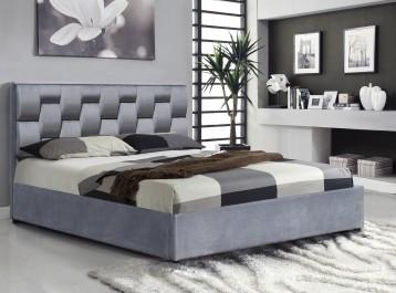 Tapicerowane łóżko sypialniane z wezgłowiem w nowoczesnej sypialni