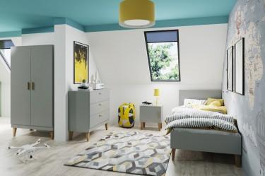 Skandynawskie meble do pokoju dziecięcego w kolorze szarym