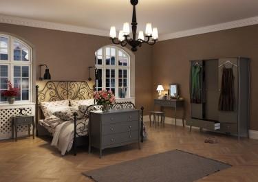 Prowansalskie meble do sypialni na giętych nóżkach w kolorze subtelnej szarości