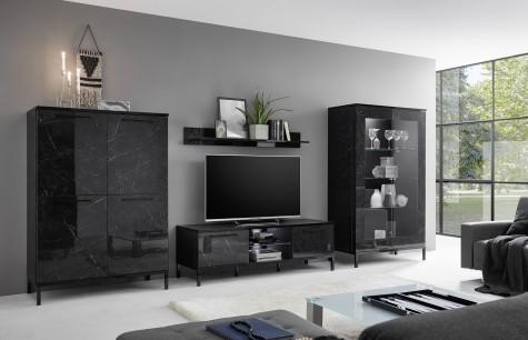 Fato Luxmeble - czarne meble mieszkaniowe w połysku z efektem marmuru Margot