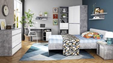 Nowoczesne meble w optyce betonu w stylowej sypialni