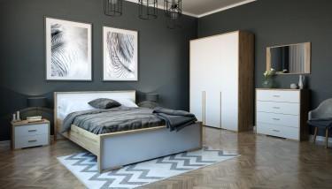 Meble sypialniane z drewnianym dekorem na tle ciemnych ścian