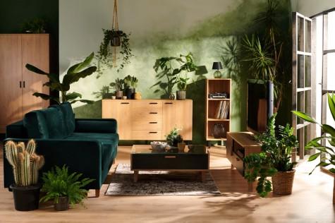 Konsimo - meble do domu i mieszkania z drewnianym dekorem Frisk dąb naturalny/antracyt