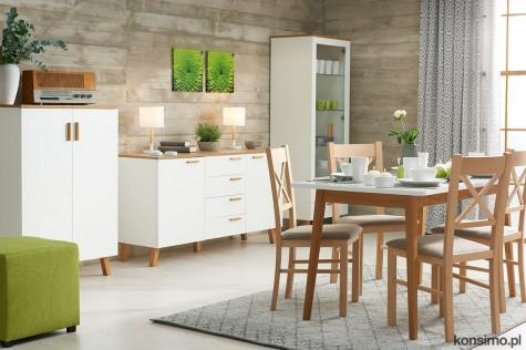 Konsimo - skandynawskie meble do sypialni i salonu Frisk biały/dąb naturalny