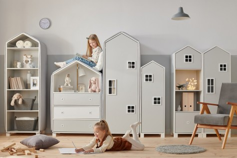 Konsimo - kolorowe meble do pokoju dziecięcego w kształcie domku Mirum
