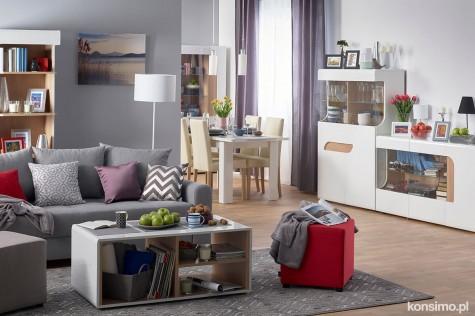 Konsimo - nowoczesne meble białe z drewnopodobnymi wstawkami Avero