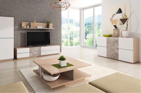 Konsimo - nowoczesne meble pokojowe ze wstawkami betonu Frigi