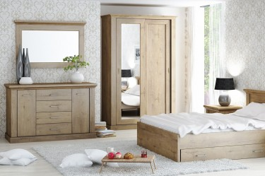 Zestaw klasycznych mebli do sypialni w kolorze dąb naturalny