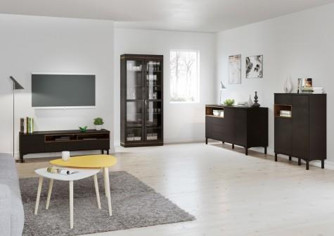 Tvilum - czarne meble do salonu z drewnianym dekorem Roomers