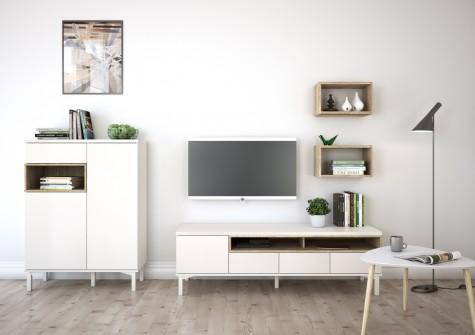 Tvilum - białe meble do salonu z drewnianym dekorem Roomers