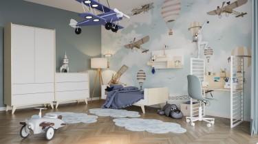 Pokój dziecięcy ze skandynawskimi meblami na wysokich nóżkach