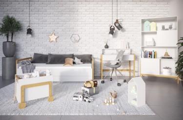 Pokój dziecka z białymi meblami w stylu skandynawskim