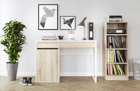 Tvilum - biurka Function Plus biały/dąb sonoma