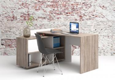 Biurko z regałem w kolorze dębu truflowego i bieli oraz krzesło z tworzywa sztucznego na metalowej podstawie