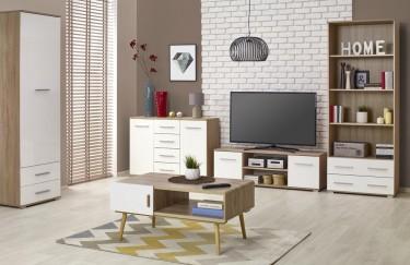 Zestaw mebli z białymi frontami i korpusami w dekorze drewnianym o odcieniu dąb sonoma oraz stolik kawowy w stylu skandynawskim