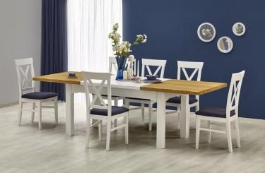 Stół rozkładany do 2,5 metra z drewnianymi krzesłami bez podłokietników